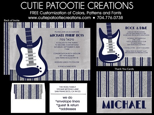 Bass Guitar Bar Mitzvah Invitation in Navy Blue and Silver - Custom Colors Available