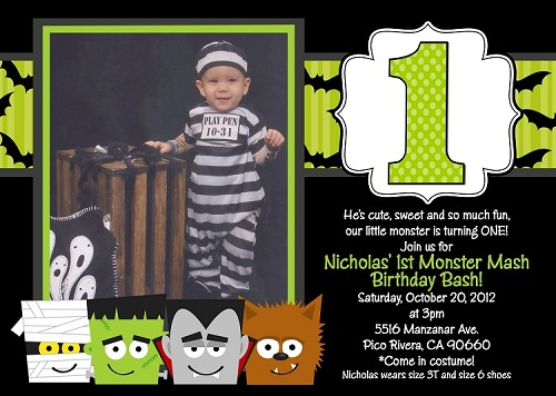 Monster Mash Birthday Bash Invitation for Boys or Girls | Halloween Party Invitations - Printable or Printed