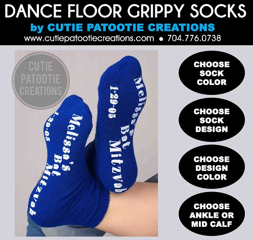 Grippy Grip Socks for Bar or Bat Mitzvah, Weddings, Sweet 16