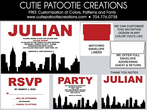 New York City Skyline Bar & Bat Mitzvah Invitations