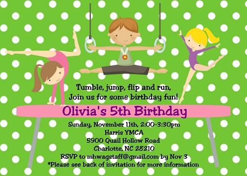 Gymnastics Birthday Party Invitations For Boys And Girls
