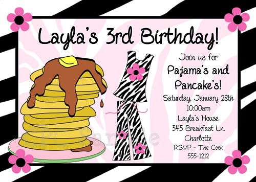 Pajama and Pancakes Birthday Party Invitations | Sleepover Invitations - Printable or Printed