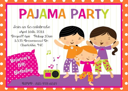 Pajama Party Birthday Invitations | Sleepover Invitations - Printable or Printed