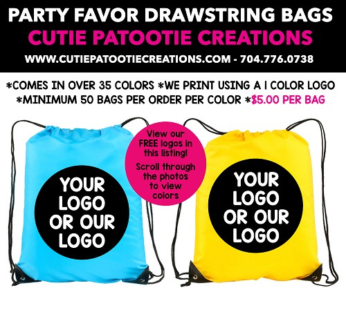 Drawstring Backpack Mitzvah Party Favor - See Description for Info - MIN 50