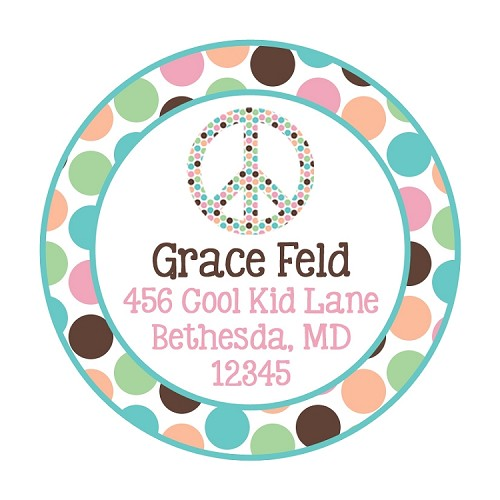 Pastel Polka Dot Peace Sign Gift Stickers or Address Labels