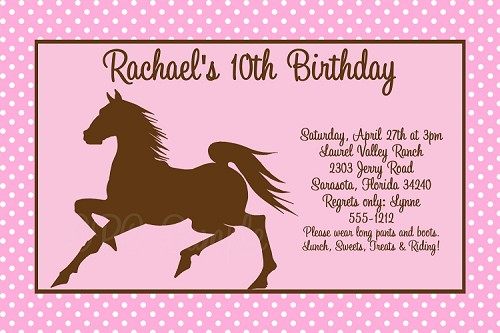 Pink and Brown Cowgirl Horse Birthday Invitations
