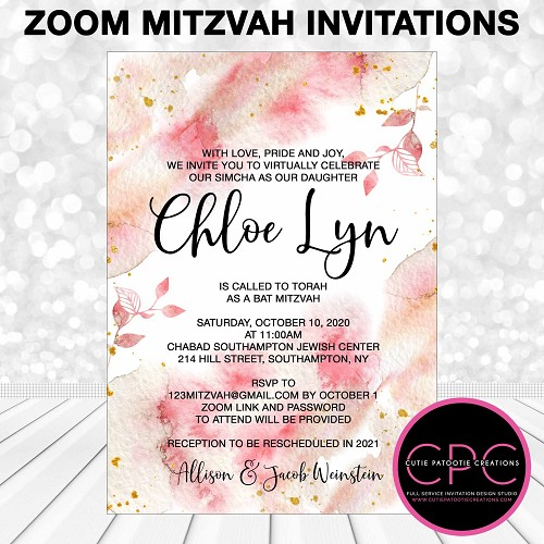 Zoom Bat Mitzvah Invitations with Peach Watercolor Flowers