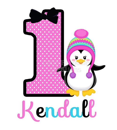 Personalized with Name and any Number Penguin T-Shirt or Bodysuit