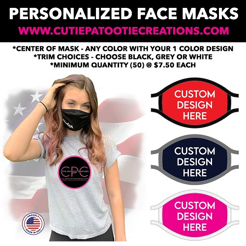 Personalized Colored Face Masks with Logo - Mitzvahs, Weddings