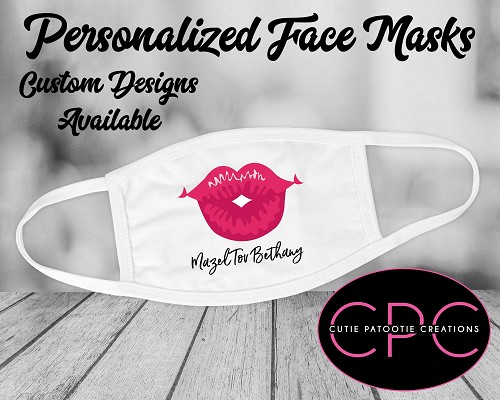 Personalized Pink Lips Bat Mitzvah Face Mask