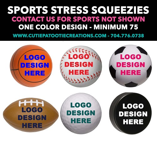 Personalized Sports Stress Ball Party Favor - All Sports Available