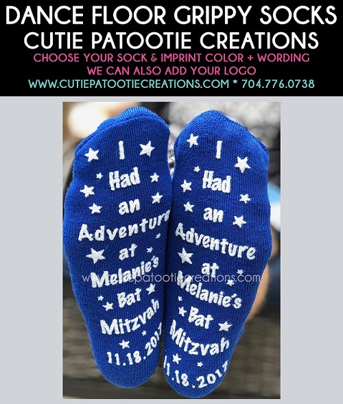 Personalized Grippy Bar and Bat Mitzvah Grippy Socks