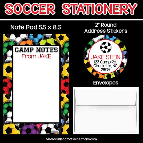 Soccer Personalized Custom Notepads, Stationery, Stickers