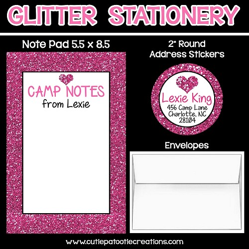 Pink Glitter Personalized Custom Notepads, Stationery, Stickers