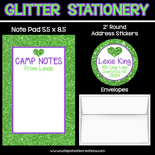 Lime Green Glitter Personalized Custom Notepads, Stationery, Stickers