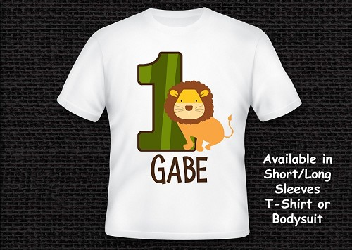Lion Safari Birthday T-Shirt or Onesie Personalized