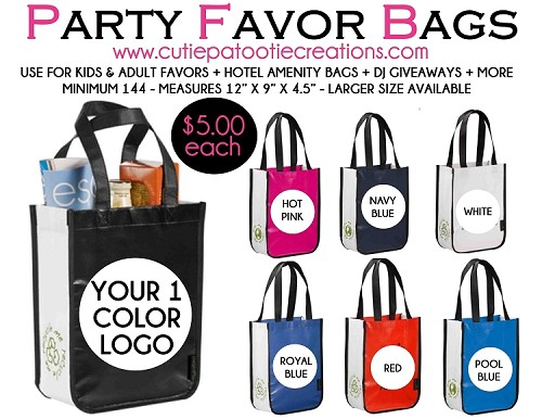 Party Favor Tote Bag Personalized with Your 1 Color Logo