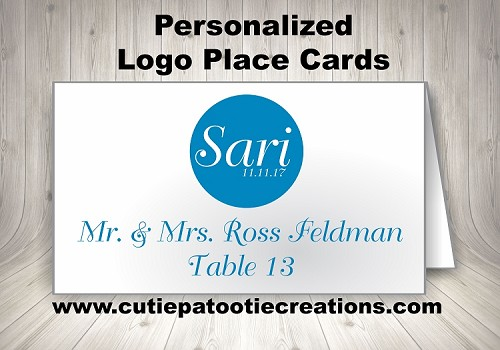 Personalized Monogram Logo Place Cards - Choose Your Colors