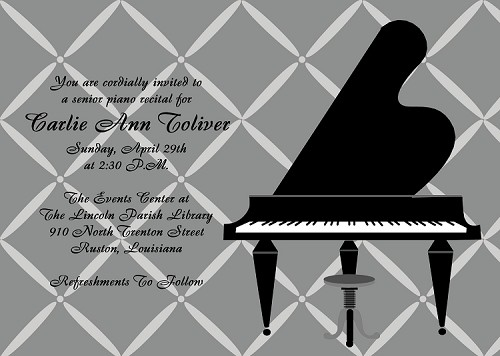 Piano Recital Invitations for Girls and Boys