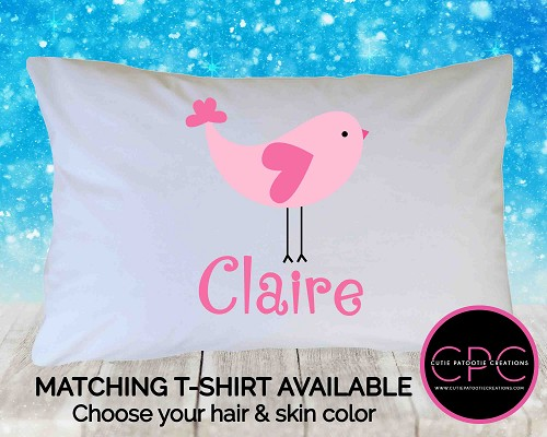 Personalized Pink Bird Pillowcase
