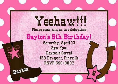 Pink Cowgirl Invitations | Western Birthday Party Invitations - Printable or Printed