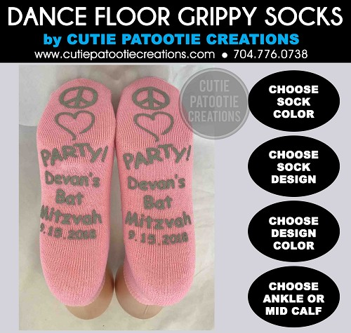 Mitzvah and Wedding Socks with Grippy Grip Bottoms