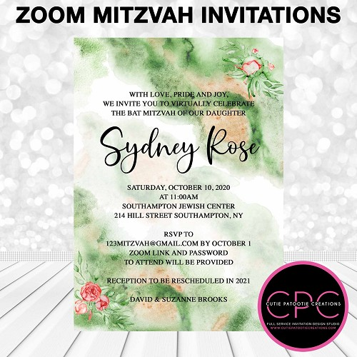 Green Watercolor Zoom Bat Mitzvah Invitations