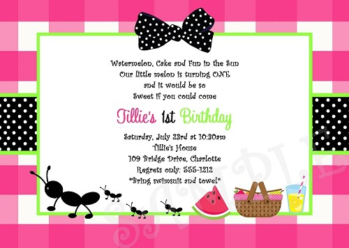 Ants on a Picnic Birthday Party Invitation, Hot Pink and Green