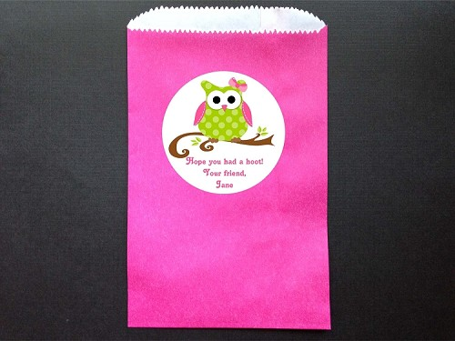 Owl Party Favor Bags and Personalized Stickers