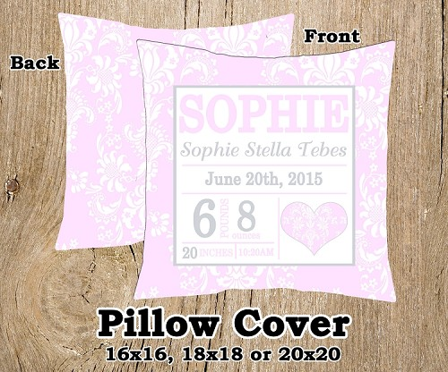 Pink & Grey Damask Birth Announcement Pillow Cover