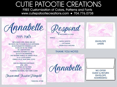 Pink and Navy Marble Bat Mitzvah Invitations | Custom Colors Available