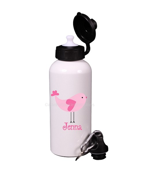 Pink Love Bird Aluminum Water Bottle, Personalized Sports Bottles