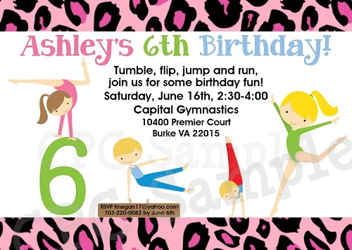 Gymnastics Birthday Party Invitations or Invites for Boys and Girls - Printable or Printed