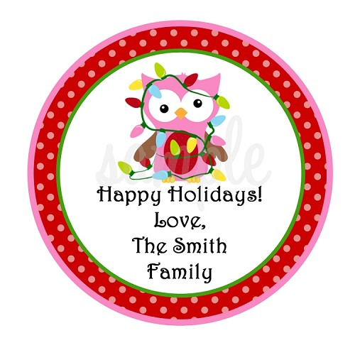 Personalized Owl Christmas Stickers, Holiday Gift Tags
