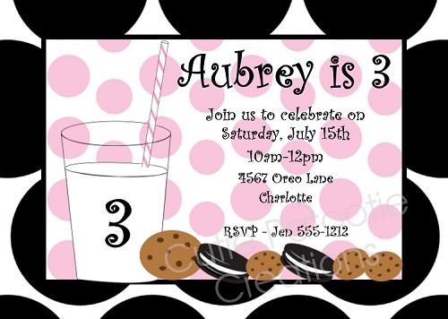 Cookies and Milk Birthday Party Invitations for Girls