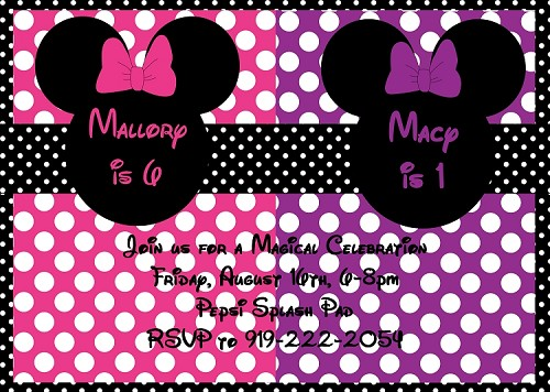 Mouse Ears Birthday Party Invitations for Twins or Siblings, Printable or Printed
