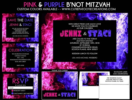 Pink and Purple Fire and Ice B'Not Mitzvah Invitations
