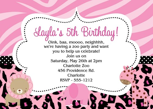 Pink Safari Birthday Invitations