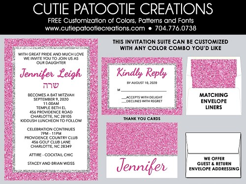 Pink and Silver Glitter PATTERN Bat Mitzvah Invitations Invitations
