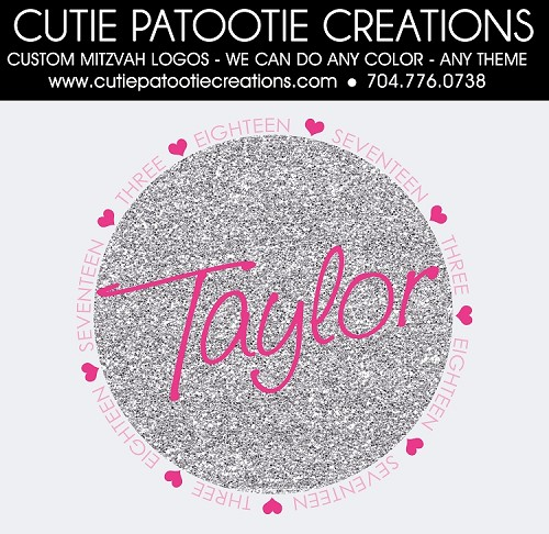 Pink and Silver Glitter Bat Mitzvah Logo with Hearts - Custom Colors Available