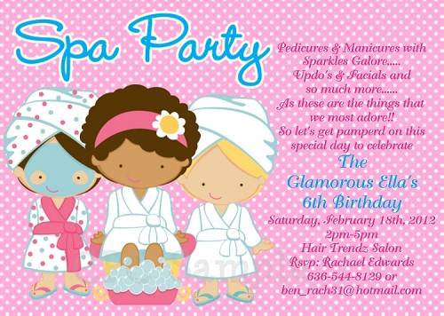 Spa Party Birthday Invitations | Sleepover Invitations - Printable or Printed