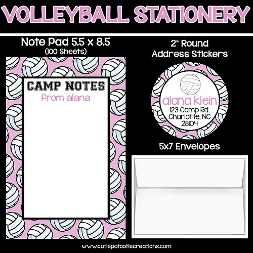 Pink Volleyball Personalized Custom Notepads, Stationery, Stickers