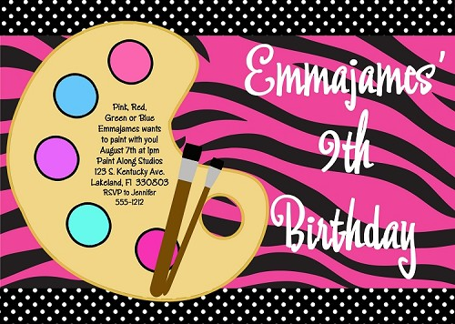 Zebra Print Painting Party Birthday Invitation