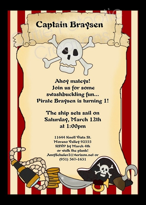Vintage Pirate Scroll Birthday Party Invitations - Printable or Printed