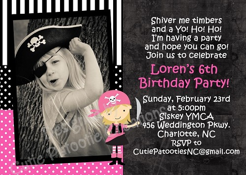 Pink Pirate Birthday Invitation, Printable or Printed Party Invite