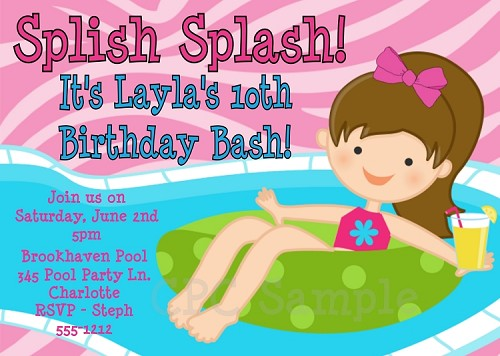 Splish Splash Pool Party Invitations - Printable or Printed