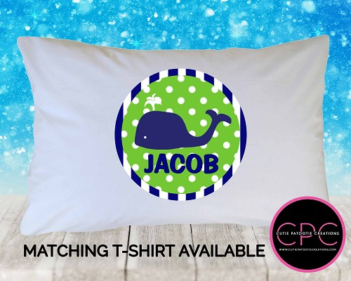 Personalized Navy Blue & Green Preppy Whale Pillowcase