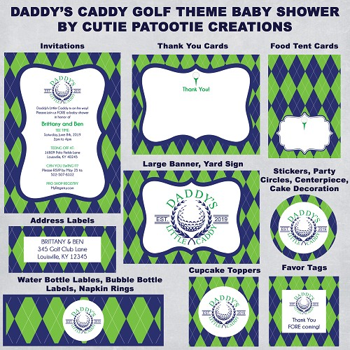 Daddy's Caddy Golf Theme Baby Shower Invitations and Party Decorations | Blue Green Argyle | Printable | Print Your Own