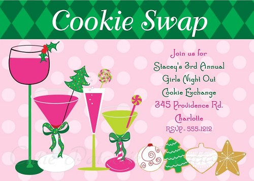 Preppy Cocktails and Cookie Exchange Party Invitation - Printable or Printed