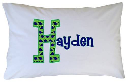 Personalized Whale Initial Pillow Case for Kids, Adults and Toddler